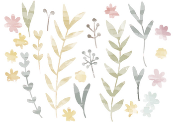 Vector Watercolor Branches - vector gratuit #391233