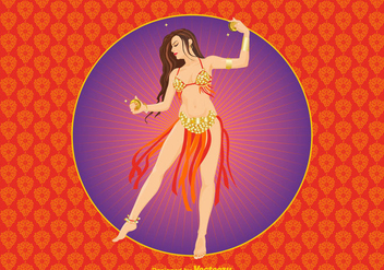 Free Bollywood Dancer Vector Illustration - vector gratuit #391313