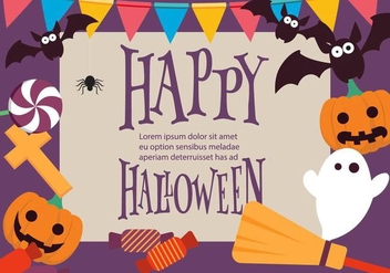 Fun Colorful Vector Halloween Background - vector gratuit #391333