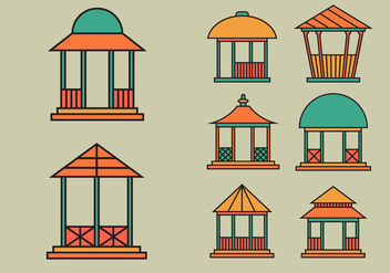 Gazebo icon vector pack - Free vector #391573