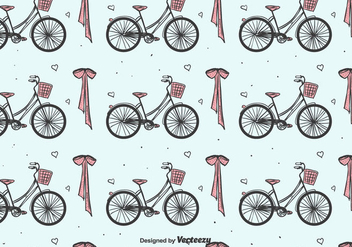 Bicycles And Bow Pattern - vector gratuit #391653