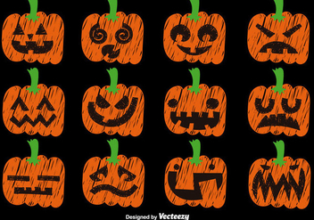 Vector Set Of Hand Drawn Pumpkins - бесплатный vector #391763
