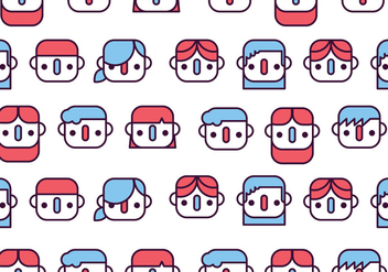 Children Faces Pattern - vector gratuit #391883
