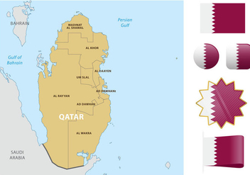 Qatar Map And Flags - бесплатный vector #391903