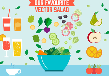 Free Salad Vector Illustration - бесплатный vector #392033