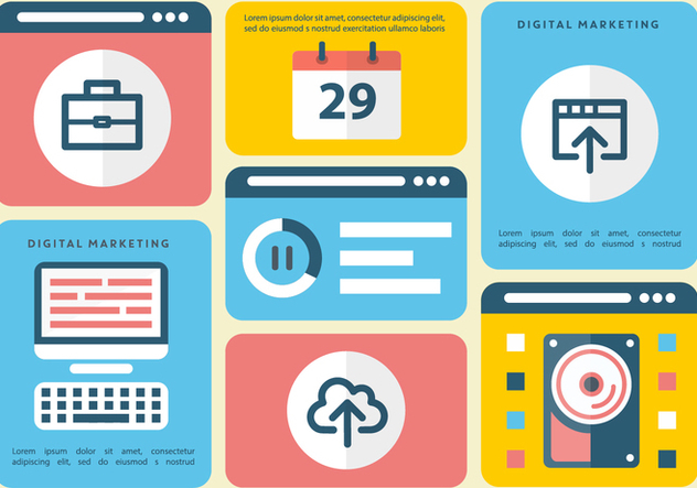 Free Flat Digital Marketing Vector Infography - vector gratuit #392053