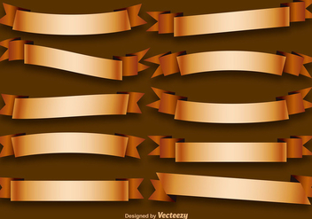 Vector Set Of Golden Ribbons - vector gratuit #392123