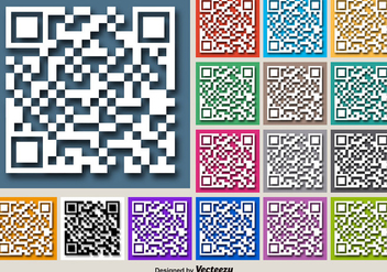 Color For RFID Vector Buttons Of White QR Code Icon - vector gratuit #392183