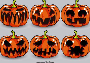 Cartoon Jack-o-Lanterns Vector Set - Kostenloses vector #392203