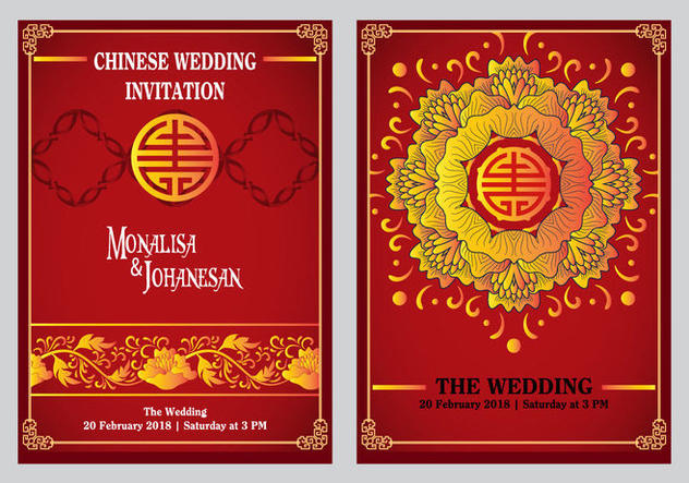 Chinese Wedding Invitation Back And Front Design Free Vector – Chinese Wedding Invitation Cards