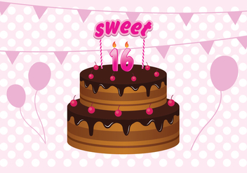 Free Sweet 16 Birthday Cake Illustration - vector gratuit #392543