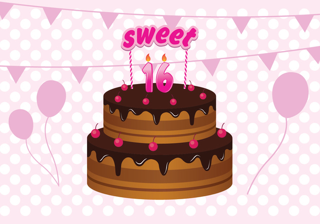 Super Free Sweet 16 Birthday Cake Illustration Free Vector Download Funny Birthday Cards Online Fluifree Goldxyz