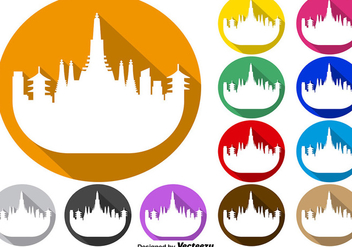 Vector Set Of Colorful Buttons Of Bangkok Skyline Icon - Free vector #392693
