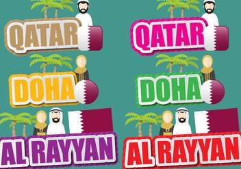 Qatar And Doha Titles - vector gratuit #392913