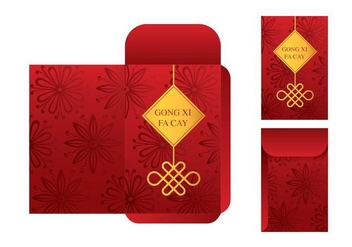 Free Red Packet Template Vector - vector gratuit #392933
