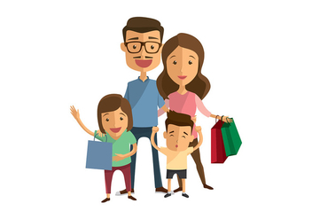 Family Shopping Vector - vector gratuit #392973