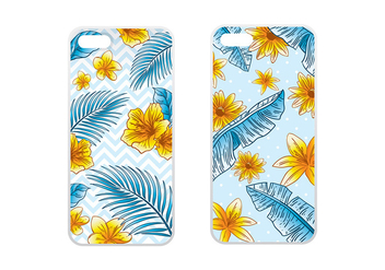 Phone Case Tropical Blue Vector - бесплатный vector #393053