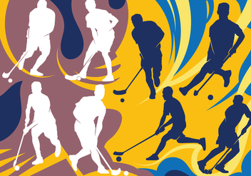 Floorball Players Silhouettes - Kostenloses vector #393083
