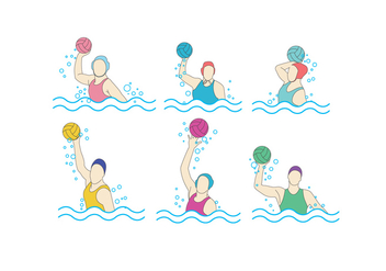 Water Polo Girls Vector - бесплатный vector #393113