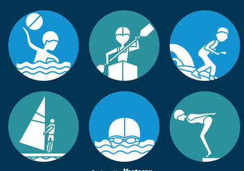 Water Sports Circle Icons Vector - Free vector #393253
