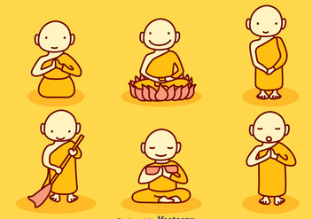Hand Drawn Cartoon Monk Vector Set - Free vector #393303