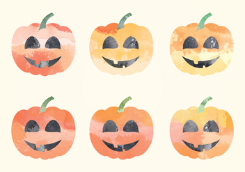 Vector Watercolor Pumpkins - бесплатный vector #393363