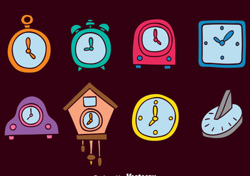Color Hand Drawn Clock Vector Sets - vector gratuit #393403