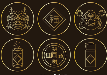 Chinese Culture Element Gold Icons Vector - Free vector #393423