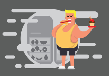 Free Fat Guy Illustration - Free vector #393483