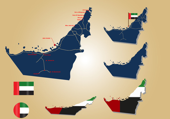 UAE Map and Flag - Kostenloses vector #393573