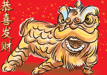 Lion Dance - vector gratuit #393623