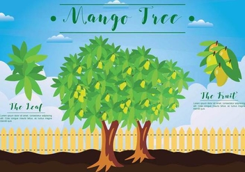 Free Mango Tree Illustration - бесплатный vector #394333