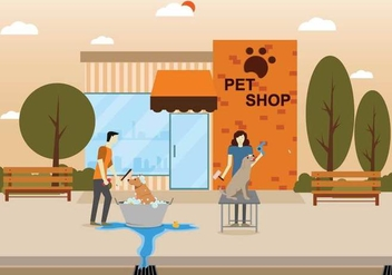 Free Dog Wash Illustration - vector gratuit #394573