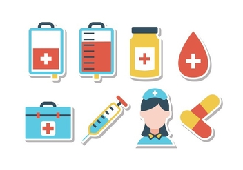 Free Hospital Sticker Icon Set - vector gratuit #394613