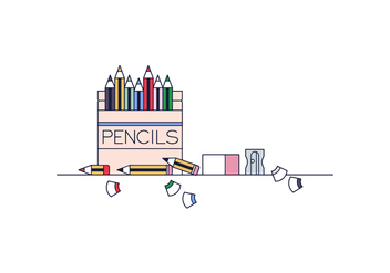 Free Pencils Box Vector - бесплатный vector #394663