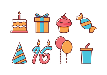 Free Birthday Icon Set - vector gratuit #394693