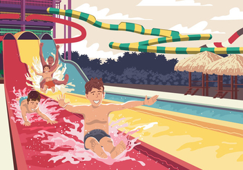 Child On Water Slide - vector gratuit #394863