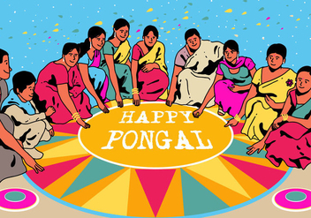 Happy Pongal Vector - vector #394933 gratis