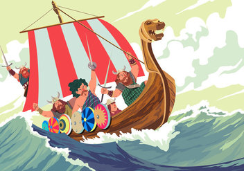 Viking Ship In The Middle A Storm Vector - бесплатный vector #394983