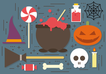 Witch Cauldron Halloween Elements Vector Collection - Kostenloses vector #395053