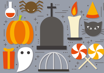 Fun Vector Halloween Icons - vector gratuit #395063