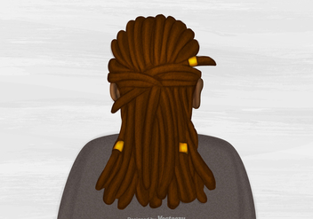 Free Vector Dreads Hairstyle Illustration - бесплатный vector #395133