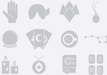 Gray Fortune Telling Icons - vector gratuit #395323