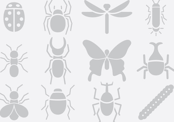 Gray Insect Icons - vector gratuit #395373