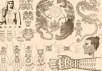 Ancient Tattoos - vector gratuit #395393