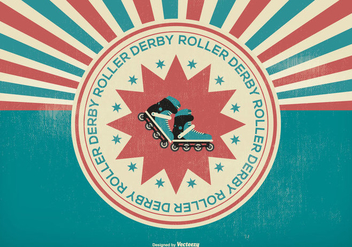 Retro Roller Derby Illustration - бесплатный vector #395643