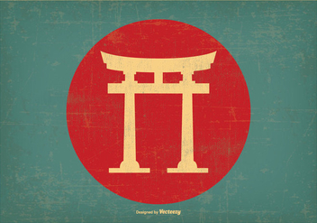 Japanese Retro Torii Gate Illustration - vector gratuit #395663