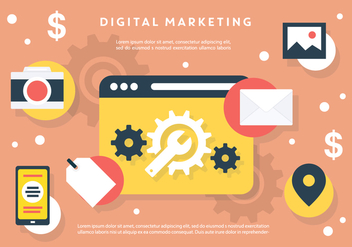 Set of Flat Digital Marketing Vectors - vector gratuit #395783
