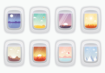 Beautiful Plane Window Vectors - бесплатный vector #395943