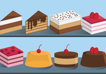 Cakes and Sweets Slices Vectors - Free vector #396053